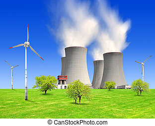nuclear power plant and wind turbin - spring landscape with...