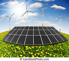 solar panel and wind turbines - solar energy panels and wind...