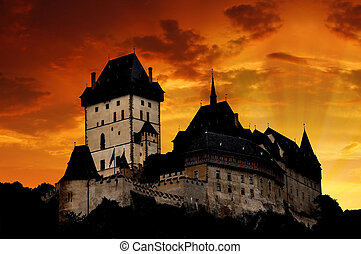 Karlstejn in Czech Republic - Sunset above the royal castle...