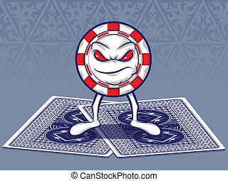 Poker Face - Poker Chip Character Standing on Two Poker...