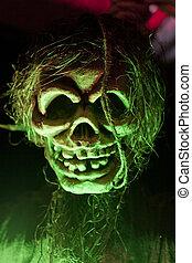 Green Skull - Green light on creepy fake skull