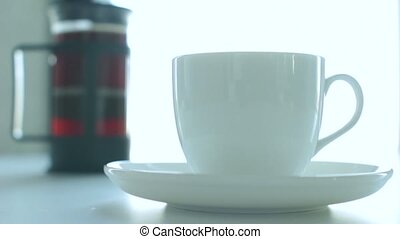 Office Coffee Break - Light video of businessman pouring...