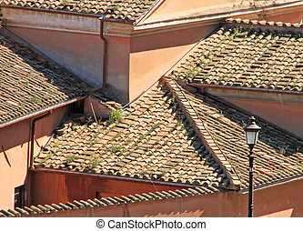 Tile roof of the house in a medieval city
