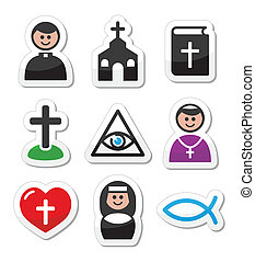 Religion, catholic church icons - Modern labels set isolated...