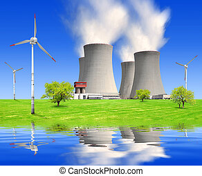 energy concept - spring landscape with nuclear power plant...
