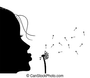 Girl blowing to dandelion - Silhouette of girl blowing to...