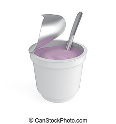Fruit yogurt on white background