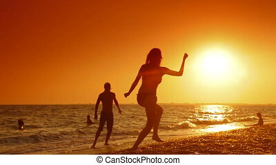 Summer Beach Vacation Fun - Teenage Couple Enjoying Summer...