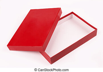 empty box - red open empty box isolated over white...
