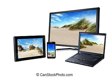 laptop, pc, smart phone and pad on white