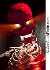 Scary Skull - Scary skull with light beams shooting out its...