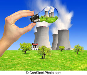 energy concepts - spring landscape with nuclear power plant