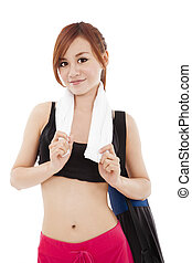 young woman ready for workout stand with yoga mat