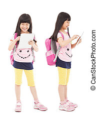 happy little girl student touching tablet pc