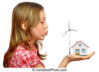 girl blowing on the wind turbines isolated