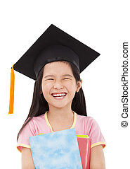 happy little girl graduation holding books