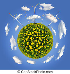 eco planet - planet with wind turbines