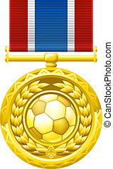 Soccer football medal - A gold winners medal with a laurel...