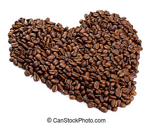 Heart made of coffee isolated on white background
