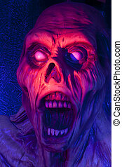 Screaming Corpse - Scary screaming monster in red and blue...