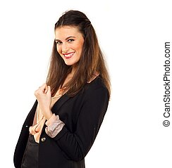 Fist Up for Success - Young business woman with fist...