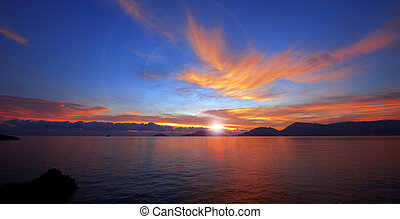 Sunset in Lerici - Liguria Italy - Sunset over the Gulf of...