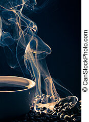 Blue smoke from cup of coffee