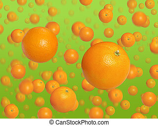 falling down oranges on green background