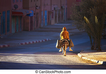Man on donkey rides early morning. - Man on donkey rides...
