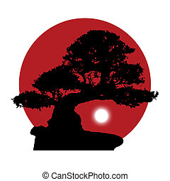 silhouette of a bonsai on a red sun background - black...
