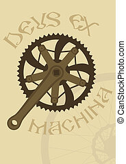 Deus ex machina - Vintage style poster with a bike chainring...