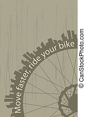 Move faster - Vintage style poster with a bike wheel and...