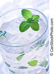 drink - mint and ice drink closeup