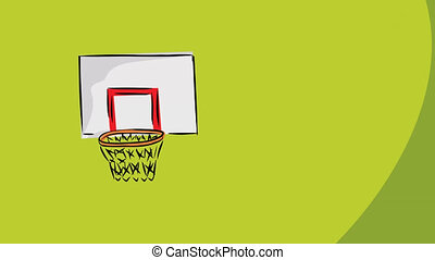Air Balls - Loopable cartoon of basketballs missing the hoop
