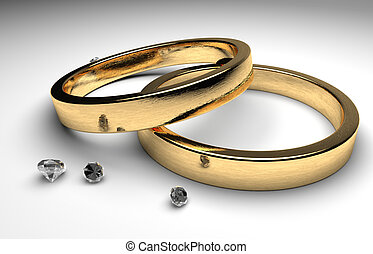 golden wedding rings with diamond