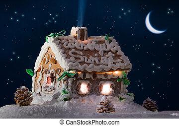 petite maison, pain épice, lune, étoiles, neigeux