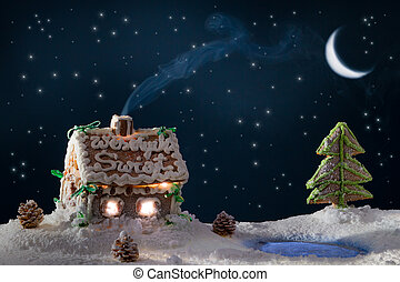 Blue smoke poured out of the gingerbread home at night in...