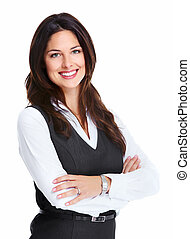 Beautiful young business woman. - Portrait of happy young...