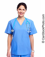 Smiling medical doctor woman with stethoscope. Isolated on...
