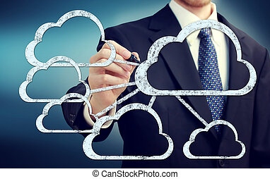 Cloud flow chart with businessman on blue background