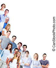 Group of men and women. - Group of people. Isolated on white...