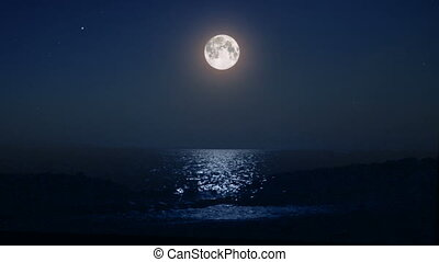 night moon and moonbeam in sea