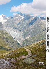 Grosser Aletschgletcher (glacier) , Alps, Switzerland