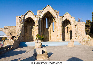 view of medieval church ruins, Rhodes, Greece