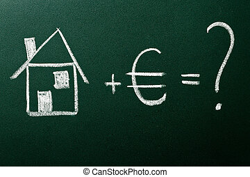 Concept of home buying on green blackboard