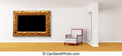 white armchair with ornate frame in modern minimalist...