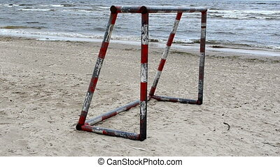 soccer gate sea sand - soccer gates on beach sand and waves...