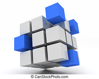 cube blue assembling from blocks on a white background
