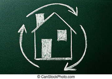 Concept of Home recycling on green blackboard