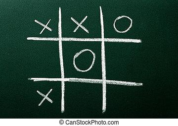 Tic-Tac-Toe game on green blackboard